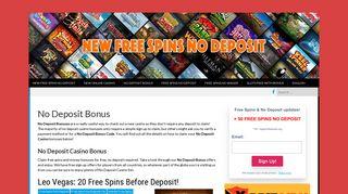 No Deposit Bonus - New Free Spins No Deposit
