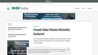 Female Nuke Worker Mortality Analyzed | EHS Today