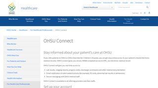 OHSU Connect   Healthcare   OHSU