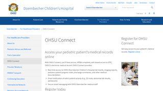 OHSU Connect   For Healthcare Providers   Doernbecher Children's ...