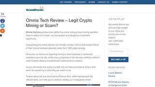 Omnia Tech Review - Legit Crypto Mining or Scam? - Scam Bitcoin