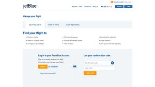 JetBlue | Manage Your Flight | Upcoming travel