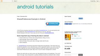 android tutorials: SharedPreferences Example in Android