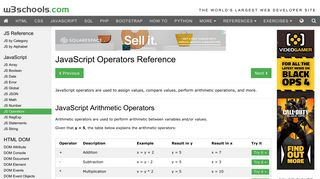 JavaScript Operators Reference - W3Schools