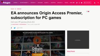 EA announces Origin Access Premier, subscription for PC games ...