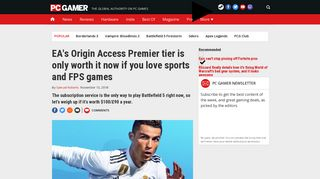 EA's Origin Access Premier tier is only worth it now if you love sports ...