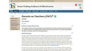 Parents as Teachers (PAT) - Home Visiting Evidence of Effectiveness