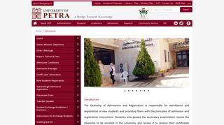 University of Petra   Admission and Registration