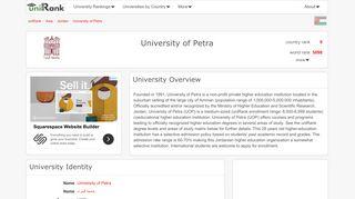 University of Petra   Ranking & Review - uniRank