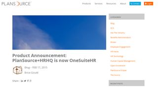 Product Announcement: PlanSource+HRHQ is now OneSuiteHR