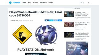 Playstation Network DOWN Now, Error code 80710D36 - Gamepur