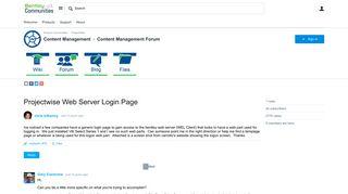 Projectwise Web Server Login Page - Content Management Forum ...