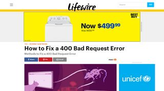 How to Fix the 400 Bad Request Error - Lifewire
