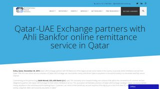 Qatar-UAE Exchange partners with Ahli Bankfor online remittance ...
