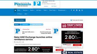 Qatar-UAE Exchange launches online remittance service - The ...