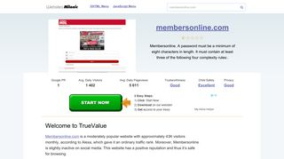 Membersonline.com website. Welcome to TrueValue.