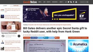 Bill Gates delivers another epic Secret Santa gift to lucky Reddit user ...