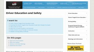 Driver Education and Safety - tdLR - Texas.gov