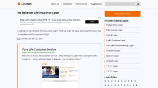 Ing Reliastar Life Insurance Login