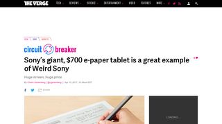 Sony's giant, $700 e-paper tablet is a great example of Weird Sony ...