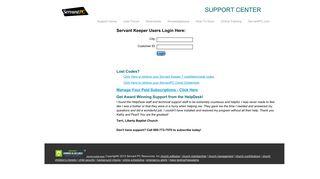 Support Center Login - Servant Keeper