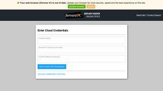 Enter Cloud Credentials | Servant Keeper