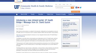 Introducing a new intranet portal: UF Health Bridge / Message from Dr ...