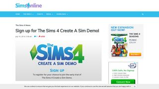 Sign up for The Sims 4 Create A Sim Demo! - Sims Online
