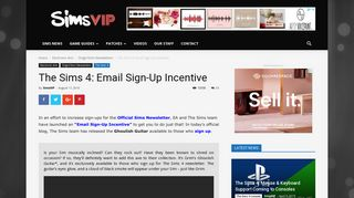 The Sims 4: Email Sign-Up Incentive | SimsVIP
