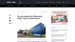 So you stayed at a Starwood hotel: Tips on data breach - Phys.org
