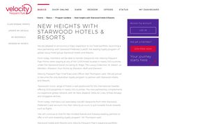 New heights with Starwood Hotels & Resorts   Velocity Frequent Flyer
