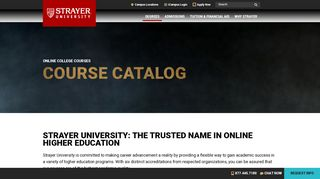 Online College Courses | Course Catalog | Strayer University