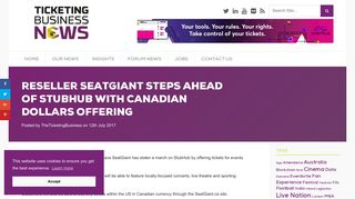 Reseller SeatGiant steps ahead of StubHub with Canadian dollars ...