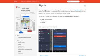 Sign in - Sygic GPS Navigation for Android - 16.4. - Manula.com