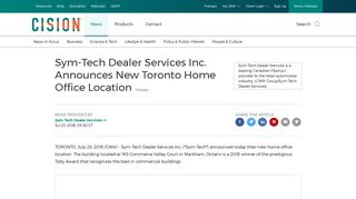 Sym-Tech Dealer Services Inc. Announces New Toronto Home Office ...