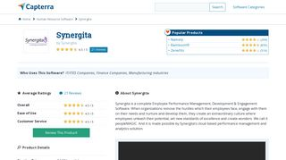 Synergita Reviews and Pricing - 2019 - Capterra