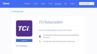 TCI Subscription - Clever application gallery | Clever