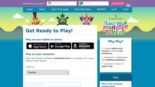 Sign Up and Play - Teach Your Monster to Read