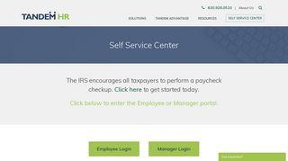 Self Service Center | Tandem HR Client Employee Login