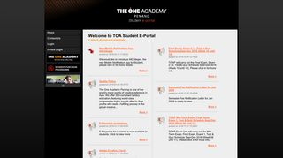 The One Academy Penang Student Portal