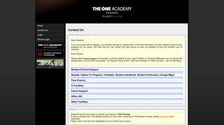 Contact Us - The One Academy Penang Student Portal
