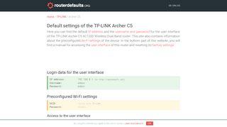 Default settings of the TP-LINK Archer C5 - routerdefaults.org