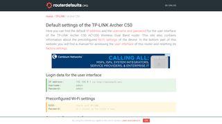 Default settings of the TP-LINK Archer C50 - routerdefaults.org