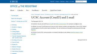 UCSC Account (CruzID) and E-mail - Registrar - UCSC
