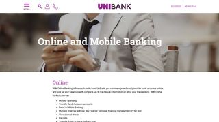 Online Banking   Mobile Banking   Electronic Banking in MA   UniBank