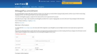 MileagePlus enrollment | United Airlines