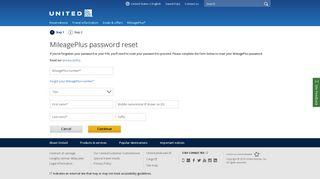 MileagePlus password reset | United Airlines