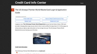 The US Airways Premier World MasterCard Login & Application Guide