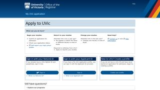 Apply for admission - UVic