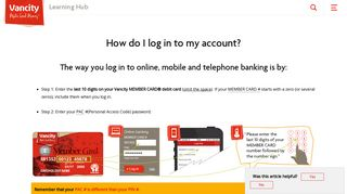 How do I log in to my account? - Learning Hub - Vancity Support